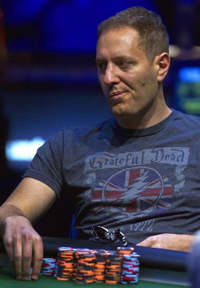 WSOP player Jesse Martin considers his play during the Poker Players Championship final table of professional poker players at the Rio on Thursday, June 26, 2014.