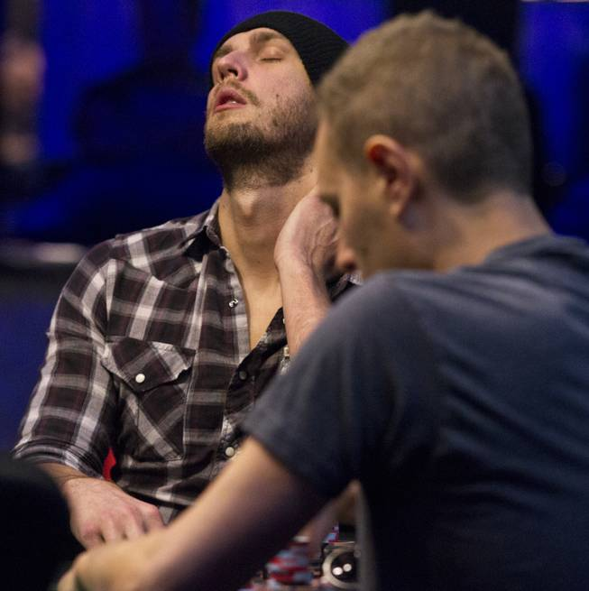 WSOP player Brandon Shack-Harris shows a little fatigue during the Poker Players Championship final table of professional poker players at the Rio on Thursday, June 26, 2014.
