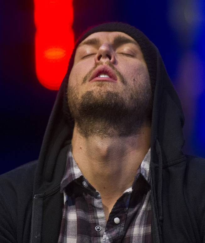 WSOP player Brandon Shack-Harris puts back his head in frustration during the Poker Players Championship final table of professional poker players at the Rio on Thursday, June 26, 2014