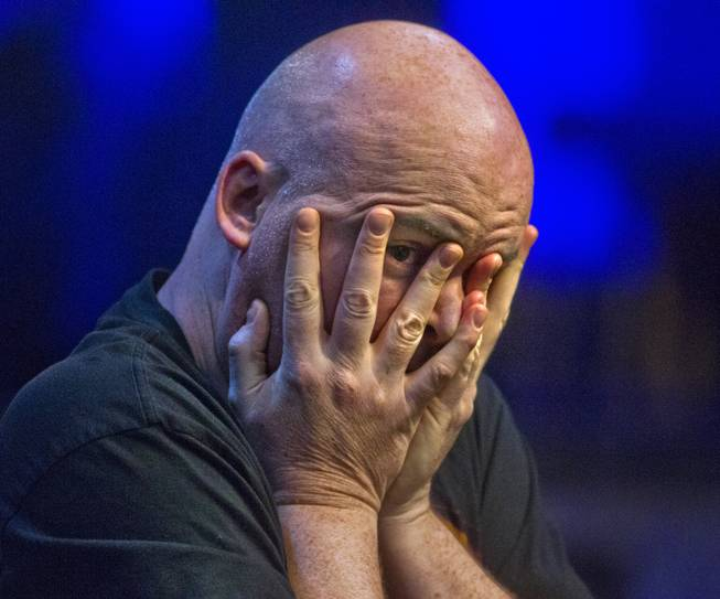 WSOP player John Hennigan has a moment of frustration on his way to winning the Poker Players Championship final table of professional poker players at the Rio on Thursday, June 26, 2014.