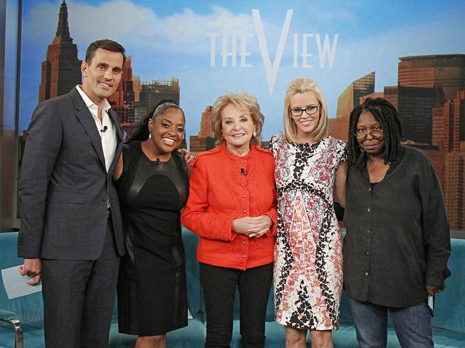 "This undated photo released by ABC shows, from left, Bill Rancic, Sherri Shepherd, Barbara Walters, Jenny McCarthy, and Whoopi Goldberg, on ""The View."""