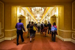 In hopes of being the next Jeopardy champion, 20 wannabe contestants from different parts of the United States make their way toward the quiz show Jeopardy auditions at the Venetian Hotel in Las Vegas, Monday, June 23, 2014.