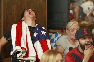 Carmen Colosimo reacts while watching at the Hofbrauhaus as the United States takes on Germany in their Group G game at the World Cup in Brazil Thursday, June 26, 2014.