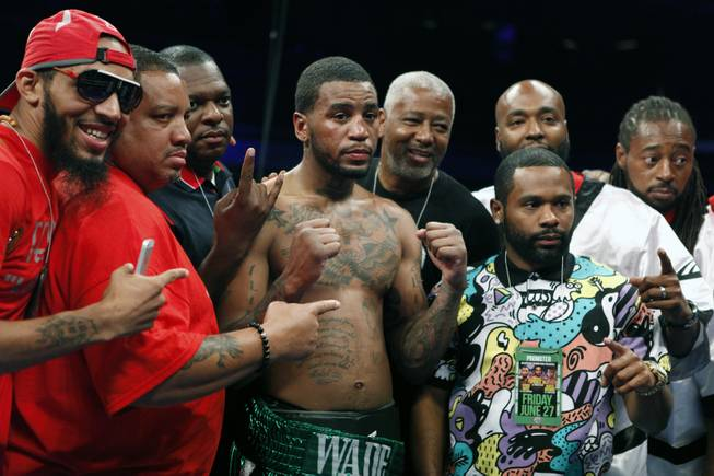 Maryland's Dominic Wade and his supporters celebrate his win as ShoBox: The New Generation on SHOWTIME presents their middleweight fight at the Hard Rock Hotel & Casino on Friday, June 27, 2014.