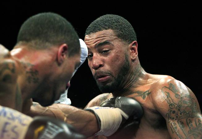 New York's Nick Brinson punches Maryland's Dominic Wade in the chest as ShoBox: The New Generation on SHOWTIME presents their middleweight fight at the Hard Rock Hotel & Casino on Friday, June 27, 2014.