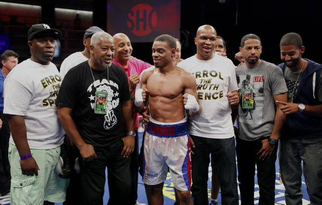 Errol Spence Jr. celebrates his win with his team over Pennsylvania's Ronald Cruz as ShoBox: The New Generation on SHOWTIME presents their welterweight fight at the Hard Rock Hotel & Casino on Friday, June 27, 2014.