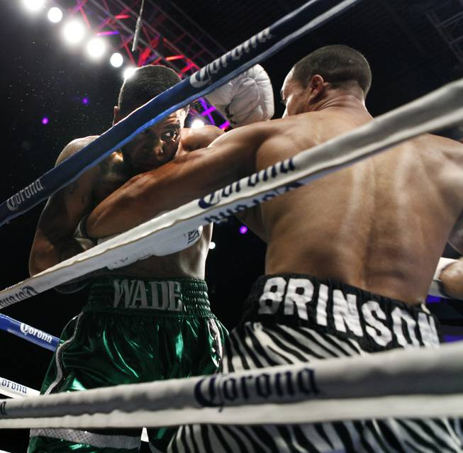 Maryland's Dominic Wade and New York's Nick Brinson tie up in the corner as ShoBox: The New Generation on SHOWTIME presents their middleweight fight at the Hard Rock Hotel & Casino on Friday, June 27, 2014.