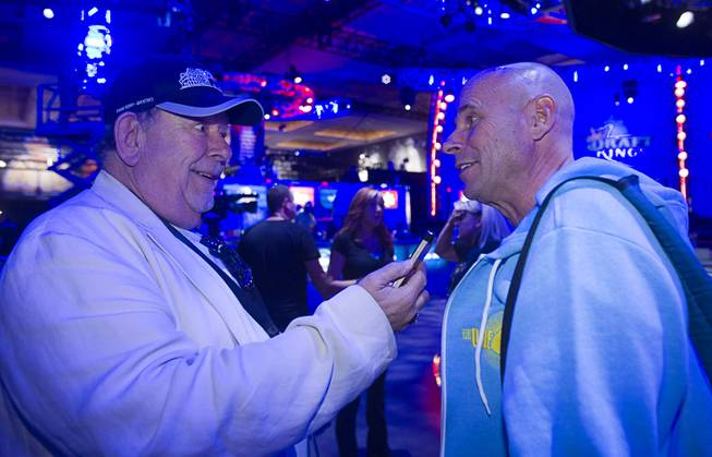 Robin Leach interviews Cirque du Soleil founder Guy Laliberte before the Big One for One Drop, a $1 million buy-in No-Limit Hold'em charity poker tournament Sunday, June 26, 2014, at the Rio.