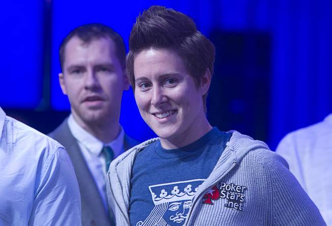 Vanessa Selbst waits for the start of the Big One for One Drop, a $1,000,000 buy-in No-Limit Hold'em charity poker tournament, at the Rio Sunday, June 26, 2014. The $1 million buy-in is the largest ever for a poker event. Proceeds support One Drop projects in countries experiencing serious difficulties caused by inadequate access to water.