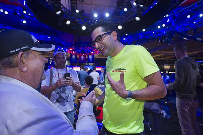 Antonio Esfandiari, Big Drop 2012 champion, is interviewed by Robin Leach before the start of the Big One for One Drop, a $1,000,000 buy-in No-Limit Hold'em charity poker tournament, at the Rio Sunday, June 26, 2014. The $1 million buy-in is the largest ever for a poker event. Proceeds support One Drop projects in countries experiencing serious difficulties caused by inadequate access to water.
