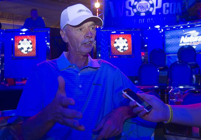 "Retired businessman Bill Klein responds to questions during an interview before the start of the Big One for One Drop, a $1,000,000 buy-in No-Limit Hold'em charity poker tournament, at the Rio Sunday, June 26, 2014. Klein won entry into the tournament on a ""free roll"" at the Bellagio, he said."