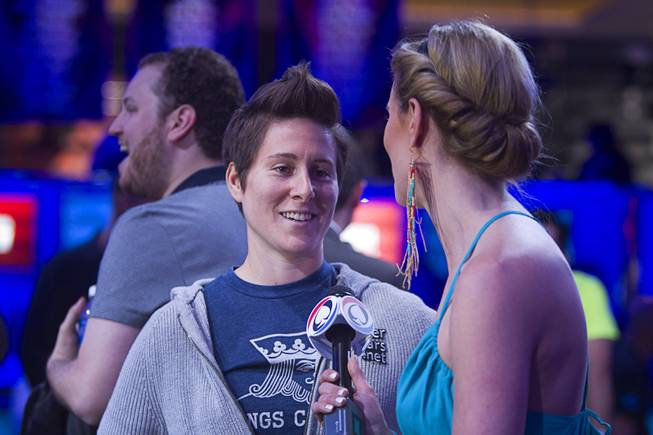 Vanessa Selbst, left, is interviewed before the start of the Big One for One Drop, a $1,000,000 buy-in No-Limit Hold'em charity poker tournament, at the Rio Sunday, June 26, 2014. The $1 million buy-in is the largest ever for a poker event. Proceeds support One Drop projects in countries experiencing serious difficulties caused by inadequate access to water.