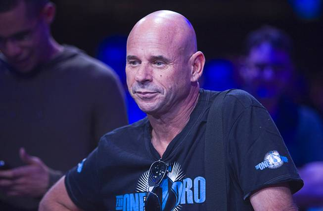 Cirque du Soleil founder Guy Laliberte waits for the start of the Big One for One Drop, a $1 million buy-in No-Limit Hold'em charity poker tournament Sunday, June 26, 2014, at the Rio.