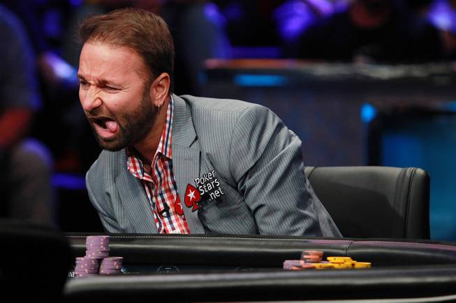 Daniel Negreanu makes a face at the play of Daniel Coleman during the final table of the Big One For One Drop tournament at the World Series of Poker Tuesday, July 1, 2014 at the Rio. Colman took home first place and $15,306,668 in prize money.