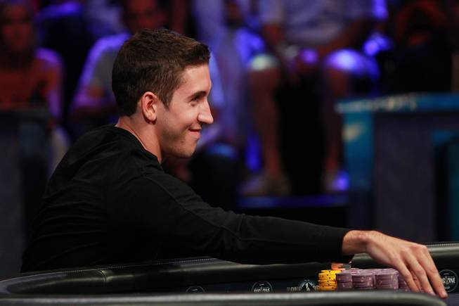 Daniel Colman makes a bet during the final table of the Big One For One Drop tournament at the World Series of Poker Tuesday, July 1, 2014 at the Rio. Colman took home first place and $15,306,668 in prize money.