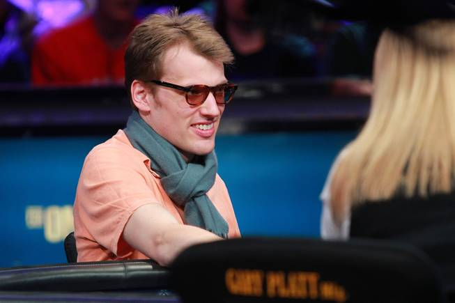 Christoph Vogelsan plays during the final table of the Big One For One Drop tournament at the World Series of Poker Tuesday, July 1, 2014 at the Rio. Colman took home first place and $15,306,668 in prize money.