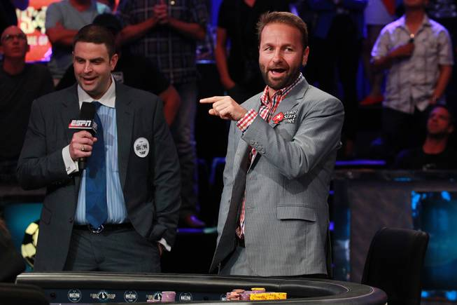 Daniel Negreanu reacts to a play during the final table of the Big One For One Drop tournament at the World Series of Poker Tuesday, July 1, 2014 at the Rio. Daniel Colman took home first place and $15,306,668 in prize money.