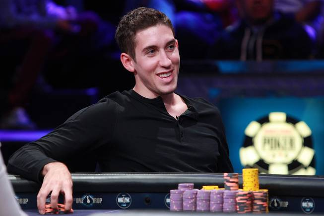 Daniel Colman smiles during the final table of the Big One For One Drop tournament at the World Series of Poker Tuesday, July 1, 2014 at the Rio. Colman took home first place and $15,306,668 in prize money.