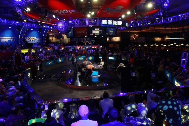 Christoph Vogelsang, Daniel Colman and Daniel Negreanu play during the final table of the Big One For One Drop tournament at the World Series of Poker Tuesday, July 1, 2014 at the Rio. Colman took home first place and $15,306,668 in prize money.