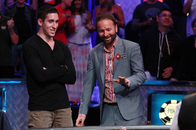 Daniel Colman and Daniel Negreanu talk while waiting for the turn during the final table of the Big One For One Drop tournament at the World Series of Poker Tuesday, July 1, 2014 at the Rio. Colman took home first place and $15,306,668 in prize money.