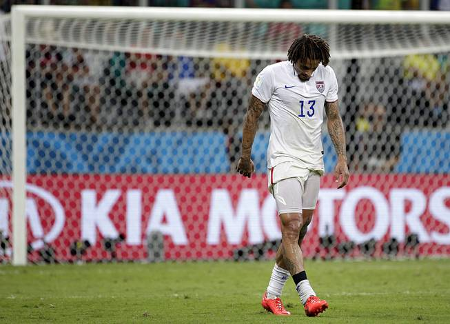 United States' Jermaine Jones walks off the pitch at the end of the extra time during the World Cup round of 16 soccer match between Belgium and the USA at the Arena Fonte Nova in Salvador, Brazil, Tuesday, July 1, 2014.