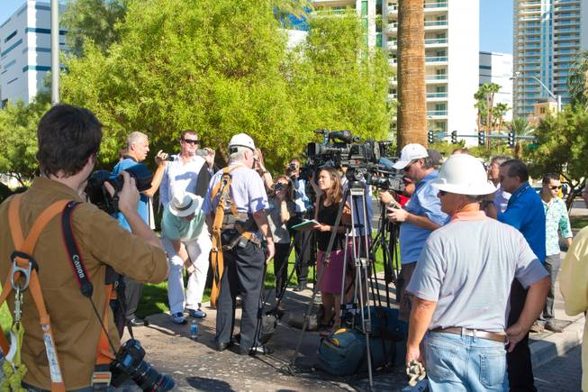 David Siegel, Founder and CEO of Westgate Resorts, talks with the press before being hoisted up over 200 feet to remove the LVH letters off their newly purchased property, Tuesday July 1, 2014.