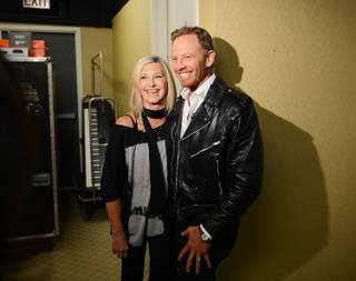 Ian Ziering with Olivia Newton-John on Tuesday, July 1, 2014, at Flamingo Las Vegas.