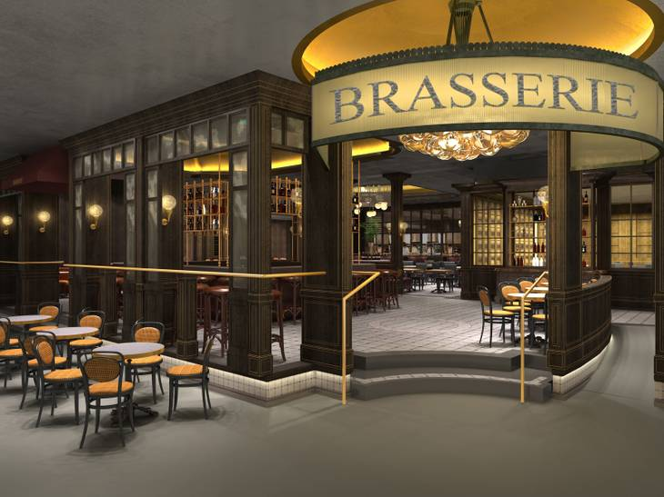 Rendering of Bardot Brasserie, which will replace American Fish at Aria.