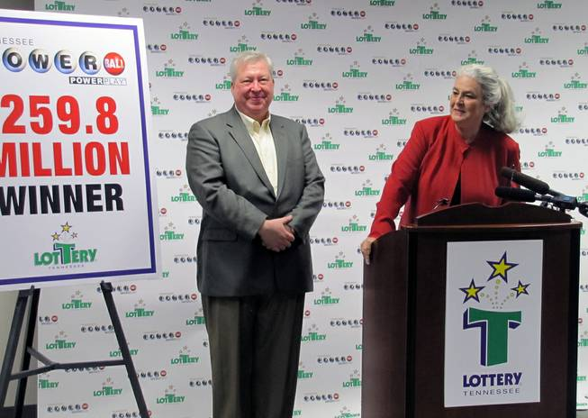 Roy Cockrum, 58, of Knoxville claims his $259.8 million Powerball prize, Thursday, July 3, 2014, in Nashville, Tenn. He is planning to accept a lump sum payment of $115 million. Lottery officials say it's the largest prize ever won in Tennessee Lottery history.