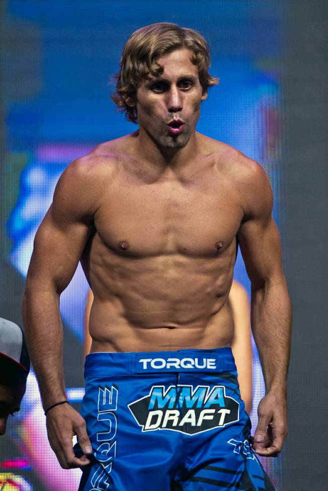 Batamweight Urijah Faber greets the fans during the UFC 175 weigh ins at the Mandalay Bay Resort on Friday, July 4, 2014.