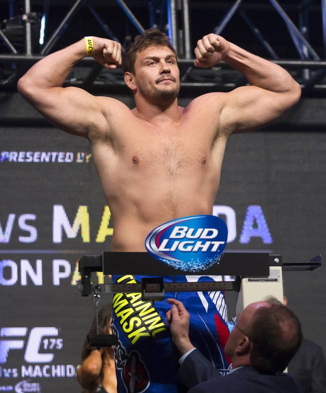 Heavyweight Matt Mitrione flexes during the UFC 175 weigh ins at the Mandalay Bay Resort on Friday, July 4, 2014.  L.E. Basko