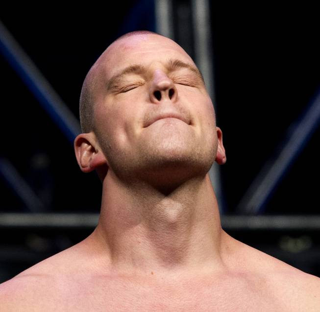 Heavyweight Stefan Struve closes his eyes during the UFC 175 weigh ins at the Mandalay Bay Resort on Friday, July 4, 2014.