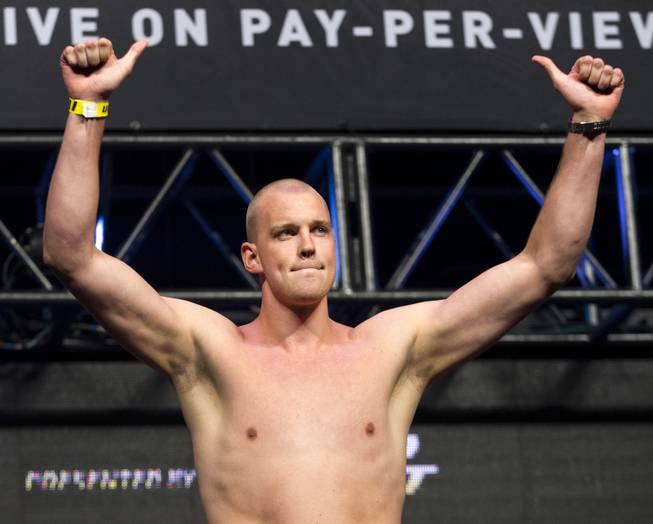 Heavyweight Stefan Struve celebrates with the fans during the UFC 175 weigh ins at the Mandalay Bay Resort on Friday, July 4, 2014.