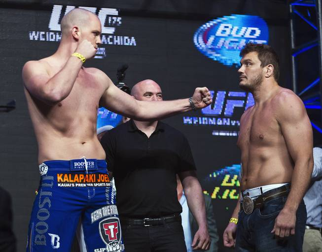 Heavyweights Stefan Struve and opponent Matt Mitrione face off during the UFC 175 weigh ins at the Mandalay Bay Resort on Friday, July 4, 2014.