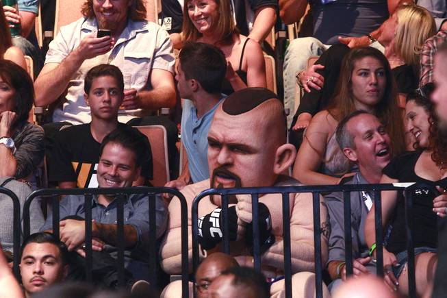 A person dressed in a Chuck Liddell costume watches the Chris Weidman vs. Lyoto Machida fight during UFC 175 at the Mandalay Bay Events Center Saturday, July 5, 2014. Weidman won a unanimous decision to retain his middleweight belt.