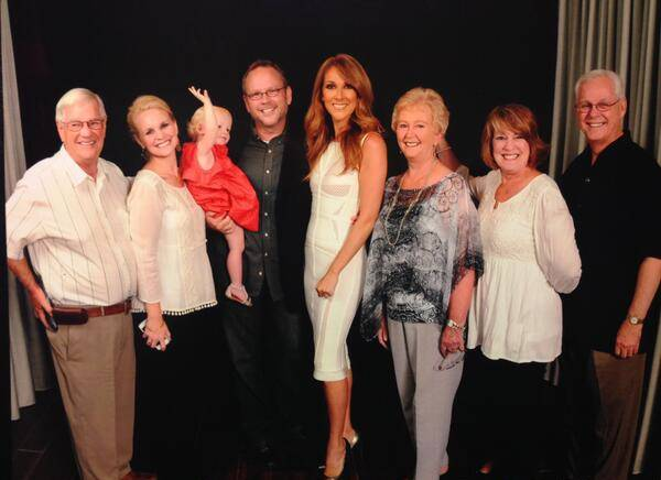 Celine Dion, Richard Dunn (holding the young girl) and his family and friends at the Colosseum on Friday, July 4, 2014, at Caesars Palace.