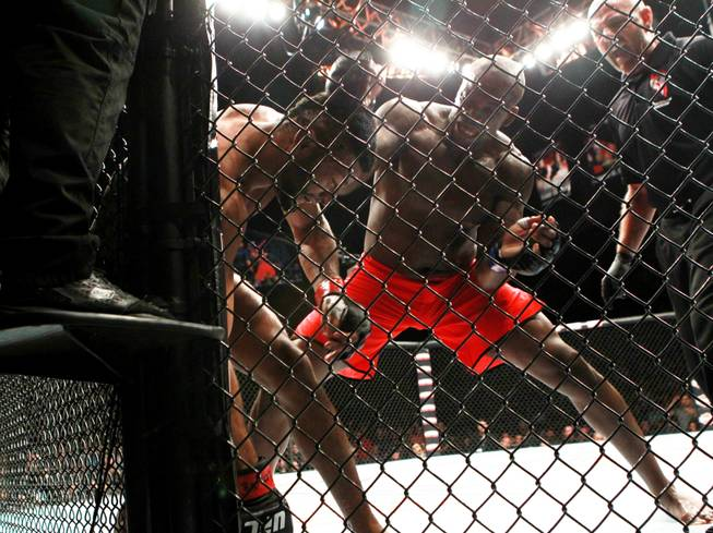 "Eddie Gordon sends Dhiego Lima to the mat with a first round knock out during their fight at ""The Ultimate Fighter"" 19 finale Sunday, July 19, 2014 at the Mandalay Bay Events Center."