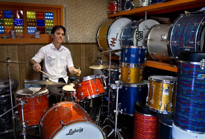 Jim Rogers is an avid collector.and drummer, he even having a number of matching kits on Friday, July 4, 2014.  L.E. Baskow