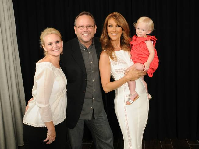 Celine Dion, second from right, with Richard Dunn, his wife Natasha and their daughter Bailey at the Colosseum on Friday, July 4, 2014, at Caesars Palace.