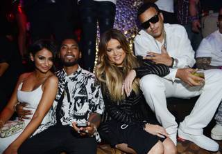 Nazanin Mandi, Miguel, Khloe Kardashian and French Montana celebrate the 30th birthday of Kardashian at Tao on Friday, July 4, 2014, in the Venetian.