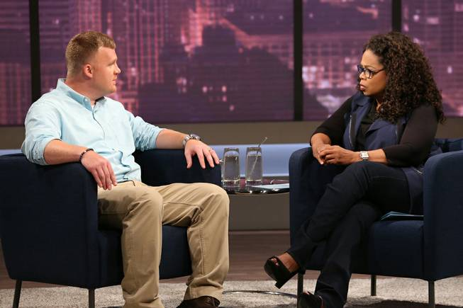This June 27, 2014, image released by OWN shows Matt Sandusky, the adopted son of former Penn State University assistant football coach Jerry Sandusky, during an interview with Oprah Winfrey.