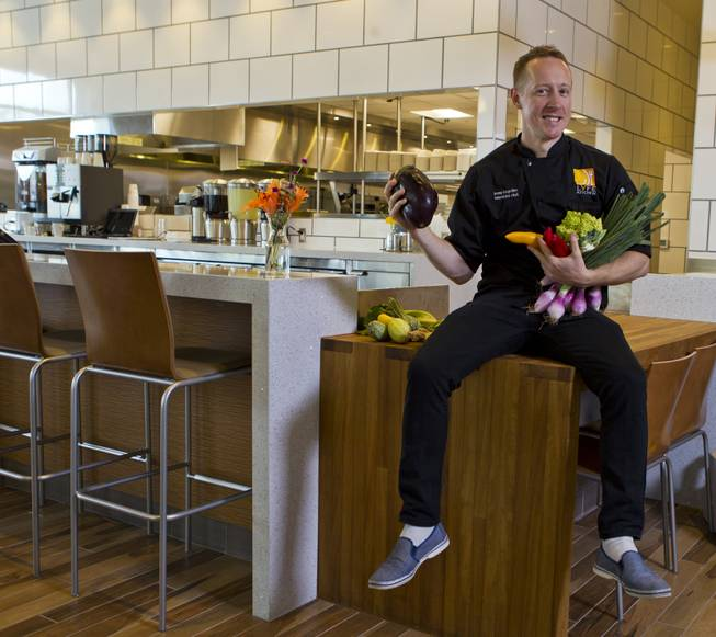 "Executive Chef Jeremy Bringardner, a winner on ""Chopped,"" will train the crew in the new Henderson restaurant Lyfe Kitchen at The District on Tuesday, July 8, 2014."