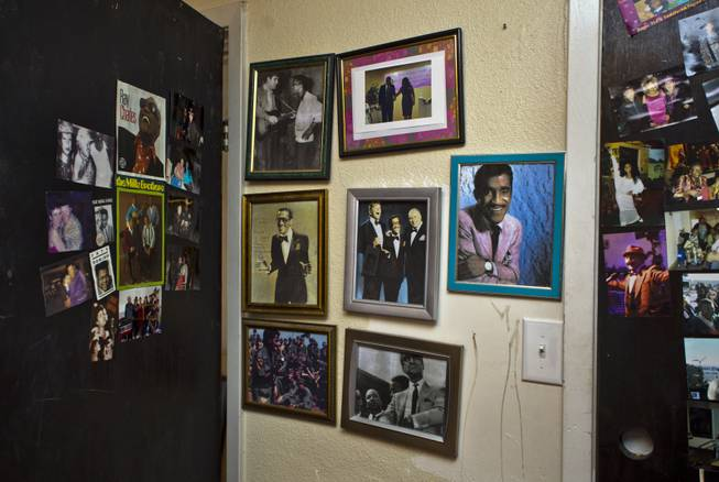 Photos of Sammy Davis Jr. are seen Wednesday, July 9, 2014, inside the room he stayed in at the Harrison House.