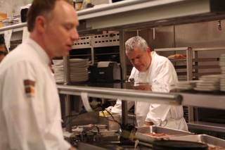 Chef Kieran Toivonen, left, of Nove Italiano at the Palms hosts guest-series dinners. Chef Luciano Pellegrini is at right.