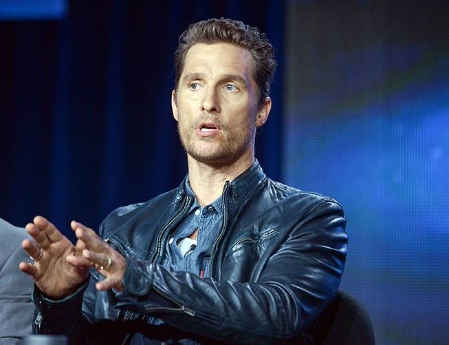 "Matthew McConaughey talks during a panel discussion for ""True Detective"" at the HBO portion of the 2014 Winter Television Critics Association tour Wednesday, Jan. 9, 2014, at the Langham Hotel in Pasadena, Calif."