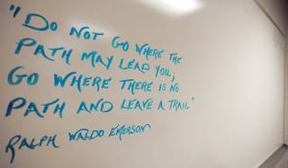 An inspirational quote from Ralph Waldo Emerson is written on a dry erase board inside a classroom used to house weekly substance abuse and anger management classes for inmates inside the Clark County Detention Center.