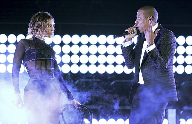 "Beyonce and Jay Z perform ""Drunk in Love"" at the 56th Annual Grammy Awards on Jan. 26, 2014, in Los Angeles."
