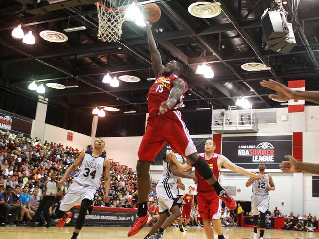 Cleveland forward Anthony Bennett drives to the basket during the Cavaliers NBA Summer League game against the Milwaukee Bucks Friday, July 11, 2014 at the Cox Pavilion.