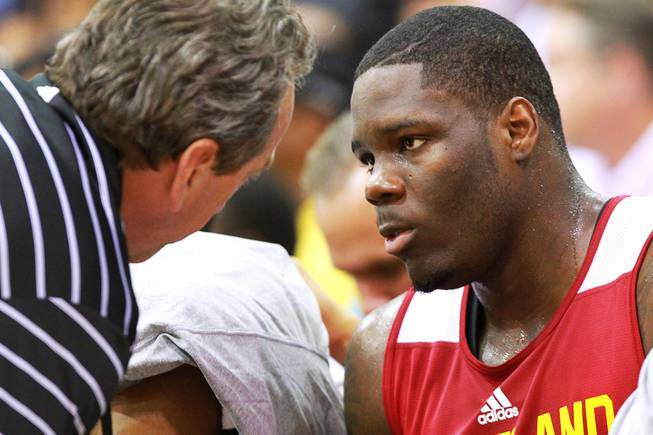 Cleveland forward Anthony Bennett listens to a coach during the Cavaliers' NBA Summer League game against the Milwaukee Bucks on Friday, July 11, 2014, at Cox Pavilion.
