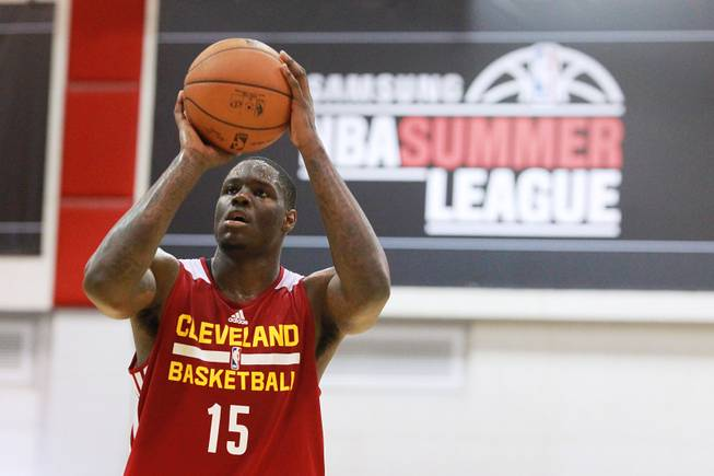 Anthony Bennett shoots a free throw during the Cavaliers NBA Summer League game against the Milwaukee Bucks Friday, July 11, 2014 at the Cox Pavilion.